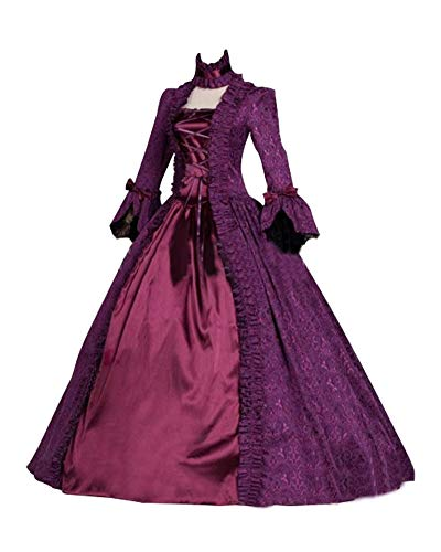 Momo Womens Royal Retro Medieval Renaissance Dress Purple Half Sleeve Gothic Lolita Dress]()