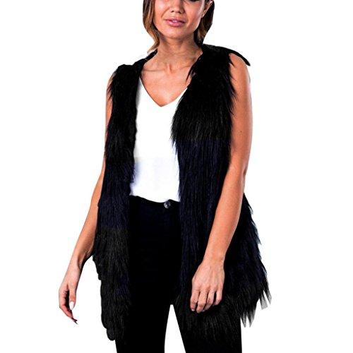 SHOBDW Mujeres Chaleco sin mangas abrigo de pelo largo Chaleco chaqueta Negro Negro