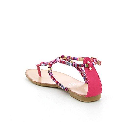 Go Moda - Sandalias planas à cuerda colorido - Mujer Rosa - rosa