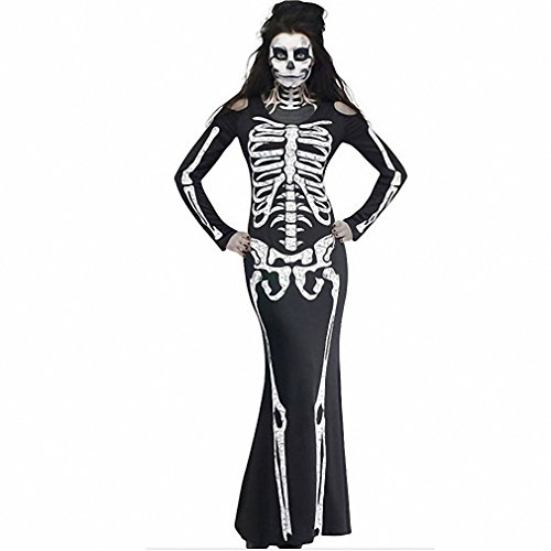 Women NEW Autumn Fancy Long Skeleton Dress Adult Scary Skull Print Full Sleeves Halloween Cosplay Costume Party Wear black S (Halloween Costumes With Little Black Dress)