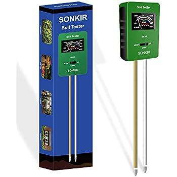 Sonkir Soil pH Meter, MS-X2 Upgraded 3-in-1 Soil Moisture/Light/pH Tester Gardening Tool Kits for Plant Care, Great for Garden, Lawn, Farm (Green)