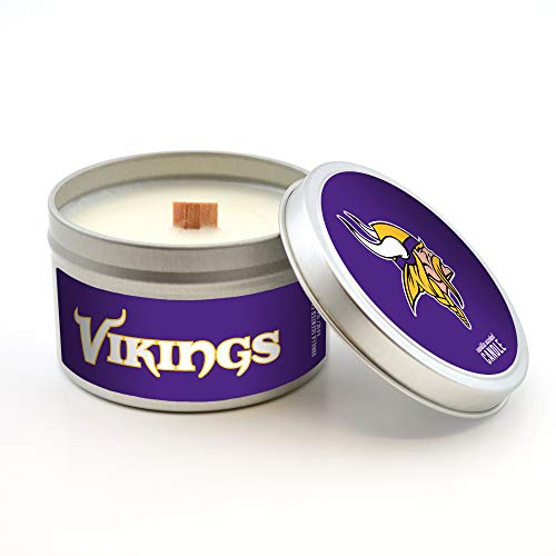 (Worthy Promotional NFL Minnesota Vikings Vanilla Scented Wood Wick Candle in Travel Tin with Lid, 5.8-Ounce )