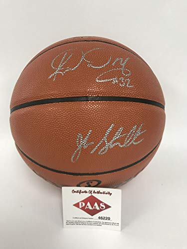 John Stockton & Karl Malone Signed Autographed F/S Spalding NBA Basketball - COA Matching -