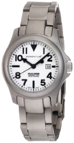 Momentum Women's 1M-SP01W0 Atlas White Dial Titanium Bracelet Watch
