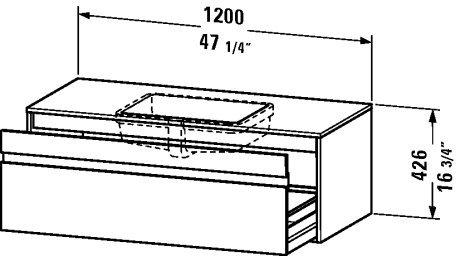 Vanity unit wall-mounted, 1 pull-out compartment, 21 5/8ô x 47 1/4ô, Basalt Matt