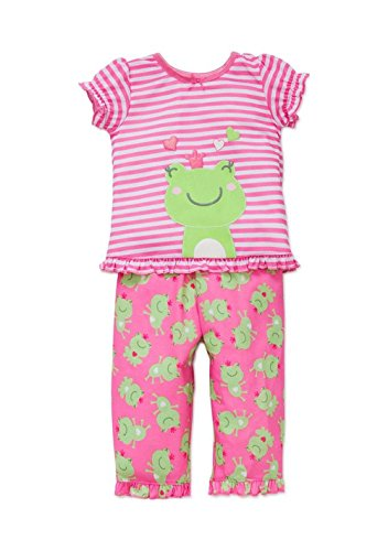Little Me Girl's 3T Pink Striped Frog Short-Sleeve Pajama Pants Set