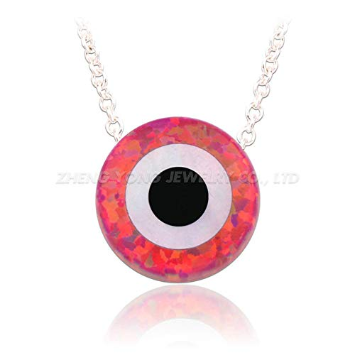 Synthetic Opal Pendant | Silver Plated Necklace for Gift 10Mm (OP23- Plated Silver)