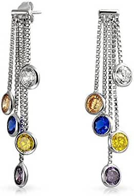 Bling Jewelry Bezel Set Cascade Multicolor CZ Dangle Earrings Silver