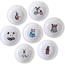 SOCOSY Creative Ceramic Cartoon Bear/Panda/Mouse/Kangaroo/Cat Seasoning Dishes Sauce Dish Sushi Dipping Bowl Serving Dish 4''(Set of 7)