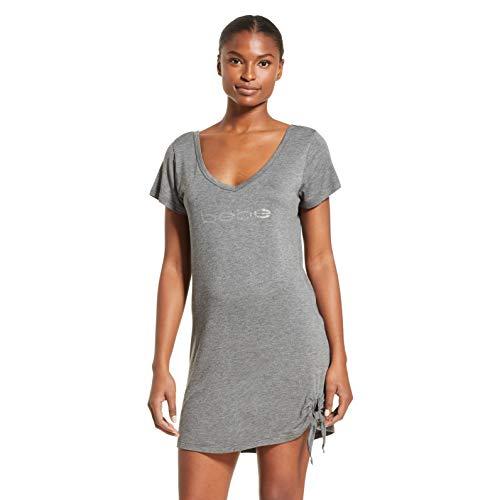 bebe Womens Tie Front Short Sleeve Dorm Sleepshirt Nightgown Charcoal Heather Small