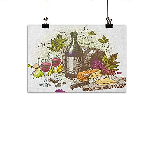 """homehot Wine Modern Oil Paintings Vintage Style Composition with Wine and Cheese Fruits Gourmet Taste Beverage and Food Canvas Wall Art 24""""x16"""" Multicolor from MartinDecor"""