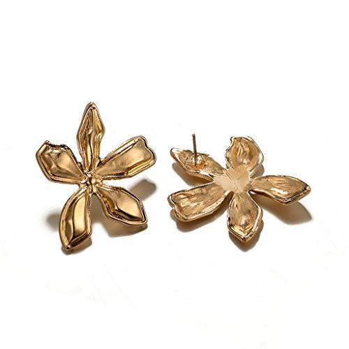 Bravetoshop Women Fashion Simple Metal Flower Three-Dimensional Petal Earrings Jewelry(Gold(3.5X2.8cm)) ()