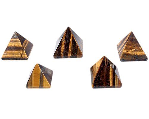 Wholesale Gem Shop ®: Natural Gemstone Semi Precious Stone Tiger Eye Pyramid Feng Shui Reiki Healing Energy Charged Pyramid 25 mm