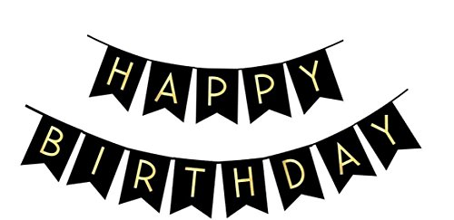 FECEDY Black Happy Birthday Bunting Banner with Shiny Gold Letters Party Supplies -