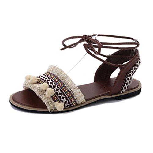 ALIKEEY Verano Romanas Playa De Beige Zapatos De De Abierta Boho Antideslizante Planas Sandalias Sandalias Sandalias Mujer Casual Pajarita Punta BIr1Iq