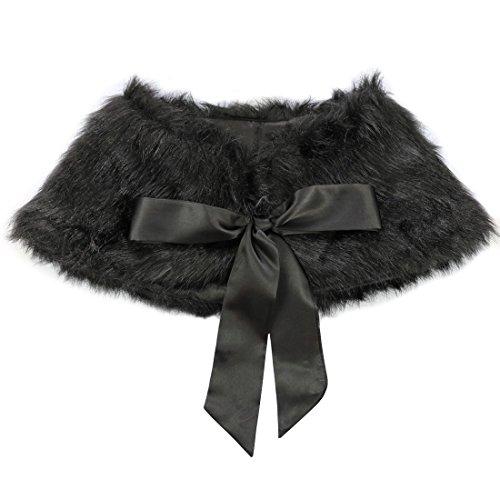TIAOBU Girls Princess Faux Fur Bolero Shoulder Cape Bridesmaid Shawl Stole Shrug Black one size