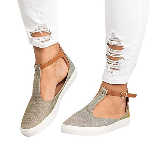 Sneaker Flat Shoes Round Womens Soft Toe Sandals Casual Loafers Grey Strap Buckle DOTACOKO Vintage C5XxRwSqq