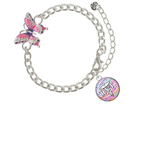 Domed Multi Color RVT Pink Butterfly Link Charm Bracelet Rvt Link