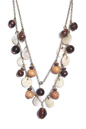 ZAD Double Strand Beaded Dangle Amber Glass, Shell & Wood Layered Necklace, 16