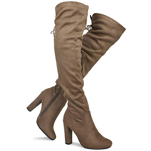 Premier Standard - Women's Thigh High Stretch Boot - Trendy High Heel Shoe - Sexy Over The Knee Pullon Boot - Comfortable Easy Heel, TPS Booties-22Aloz Dk Taupe Size 6.5