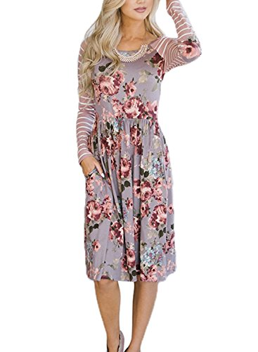 Imprimé Floral Casual Manches Courtes Femmes Hotapei Une Ligne Lâche Longueur Genou Robes T-shirt S-violet Clair