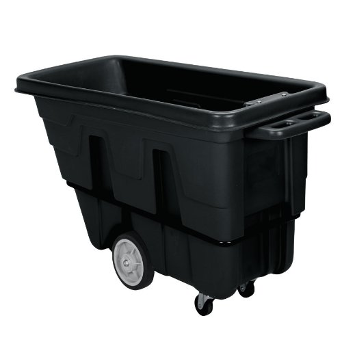 Continental 5849BK, Black Standard Duty 1.5 Cubic Yard Tilt Truck Receptacle with Casters, 1200-lb Capacity, 86-1/2