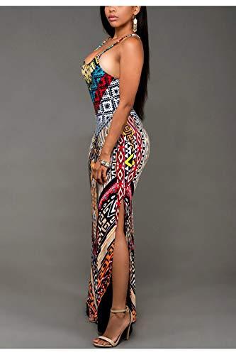 Sin Tribales Vestidos Florales Rojo Maxi Mangas Mujeres Vestido Africanos CwBZSgBq