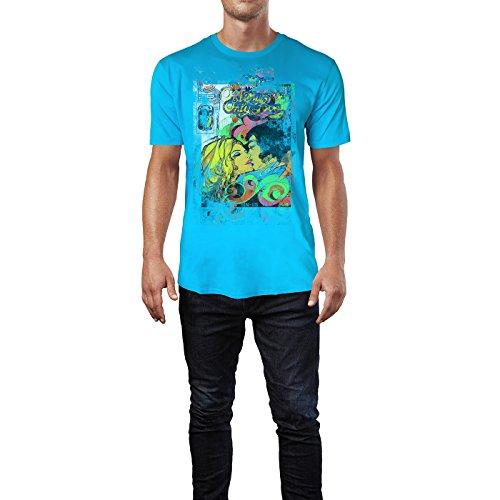 SINUS ART® My Only Love Herren T-Shirts in Karibik blau Cooles Fun Shirt mit tollen Aufdruck