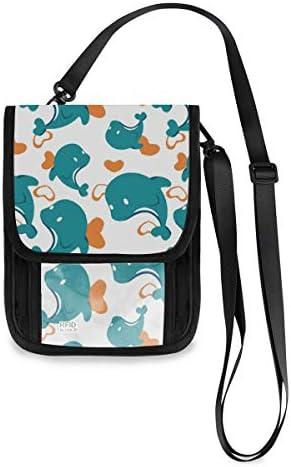 トラベルウォレット ミニ ネックポーチトラベルポーチ ポータブル 可愛い 鯨 小さな財布 斜めのパッケージ 首ひも調節可能 ネックポーチ スキミング防止 男女兼用 トラベルポーチ カードケース