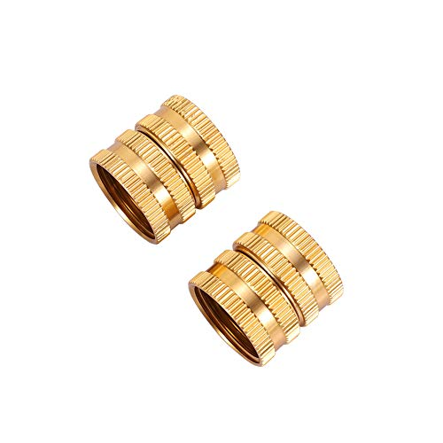Metal Garden Hose to Hose Fitting Connect, Double Female Quick Swivel Connector Adapter Thread Size 3/4