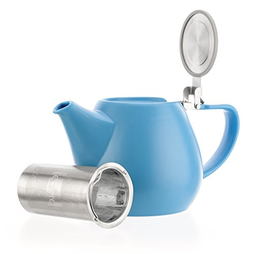 Tealyra - Jove Porcelain Large Teapot Blue - 34.0-ounce (3-4 cups) - Japanese Made - Stainless Steel Lid and Extra-Fine Infuser To Brew Loose Leaf Tea - 1000ml