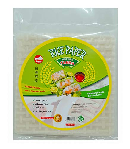 (3 packs Tanisa Spring Roll Rice Paper Wrapper for Fresh roll (Square, 22cm, 12)