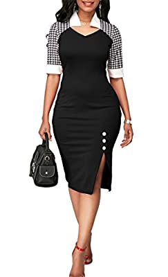 onlypuff Business Pencil Dress For Women Midi Bodycon Wear To Work With Sleeves Vintage Color Block Vneck
