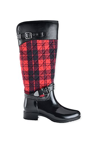 Charlie Paige Ladies Leather Tread Buckle Fashion Winter Boots - Buffalo Plaid, Size (Buffalo Plaid Boot)