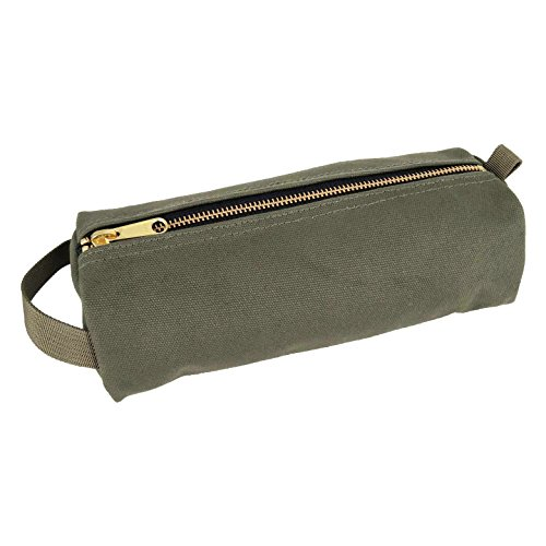 Rough Enough Military Highly Heavy Duty Canvas Mufti-Functional Classic Vintage Stationary Small Tool Pouch Pencil Case Durable Pen Bag Zipper Box Holder For Arts Supply Pens Pencils School Supplies