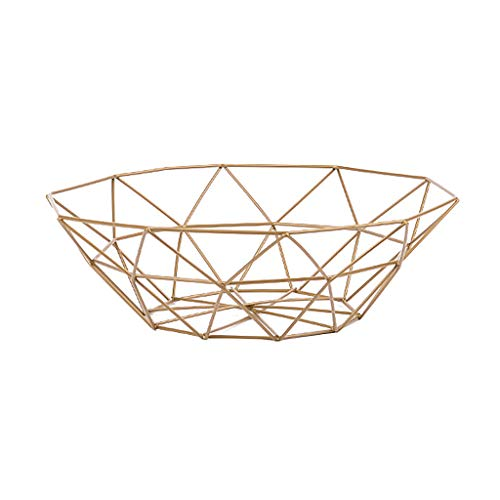 Clearance Sale!DEESEE(TM)Geometric Fruit Vegetable Wire Basket Metal Bowl Kitchen Storage Desktop Display (Gold) (Home Decorations For Table)
