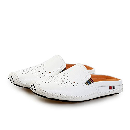Go Tour Mens Mules Clog Slippers Breathable Punching Leather Slip on Shoes Casual Loafers 1 White nMSmgOJsI