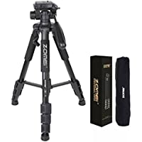 ZOMEI 55 Light Weight Aluminum Tripod Flexible Camera Tripod 4s Stand with 1/4 Mount 3-Way PanHead for DSLR EOS Canon Nikon Sony Samsung with Bag-F467