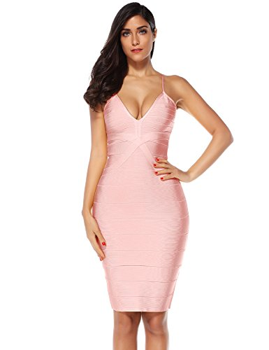 Meilun Women's Strap Midi Bandage Dress Length Party Solid Prom Bodycon Dress...