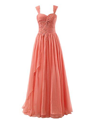 A line Chiffon Tz004 Bridesmaid Beading Long Gowns Women's Sarahbridal Prom Dresses coral qxatZpn