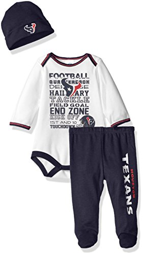 NFL Houston Texans Bodysuit, Pants & Cap Set, 0-3 Months, Blue