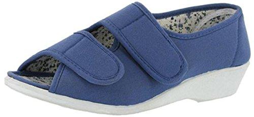 Damen Sommer Mirak Jingly Schuhe Damen Canvas Stoff mit Klettverschluss, PVC Blau