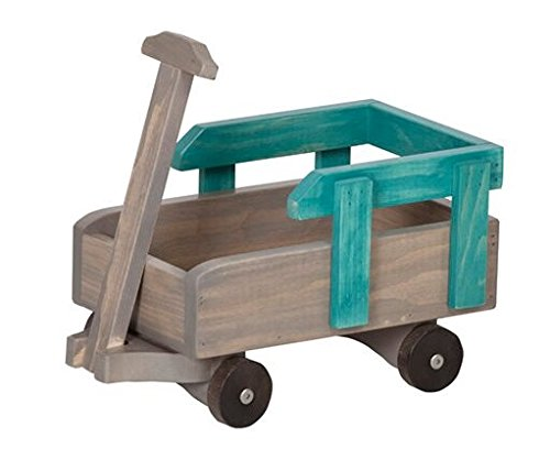 12 - 18 Inch Doll Pull Wagon Play Accessory USA Handmade, Turquoise & Gray by Clip Clop