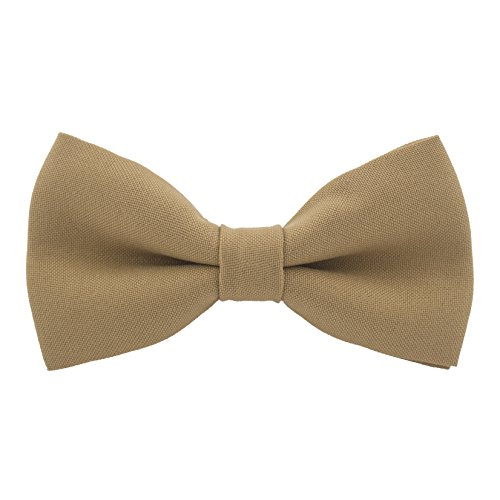 Classic Pre-Tied Bow Tie Formal Solid Tuxedo, by Bow Tie House (Small, Deep Beige)