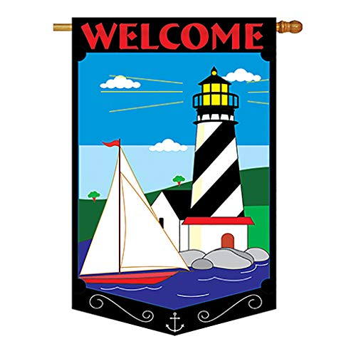 - Two Group - Welcome Lighthouse Coastal - Everyday Applique Decorative Vertical House Flag 28