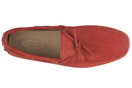 Tod's mocassini uomo in camoscio laccetto occhielli gommini 122 rosso