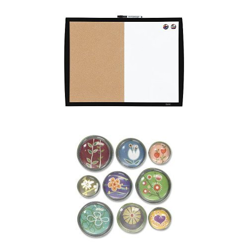 Quartet Magnetic Combination Board with Curved Frame, Cork / Dry-Erase, 17' x 23', Black (41723-BK) + Bubble Push Pins