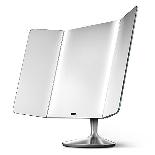simplehuman Sensor Espejo Pro Amplia Vista, con luz Espejo de Cambiador, 1x ampliación, Temperatura de Color Ajustable,...
