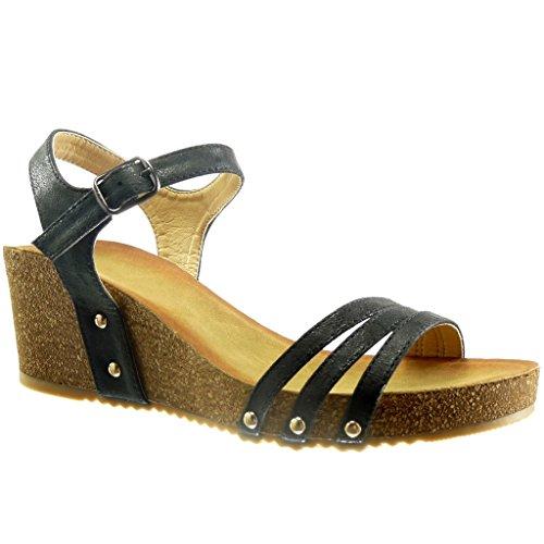 Angkorly - damen Schuhe Sandalen - Plateauschuhe - Offen - Nieten - besetzt - Kork - glänzende Keilabsatz high heel 6 CM - Schwarz