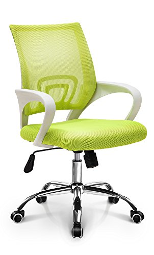 Neo Chair Fashionable Home Office Chair Conference Room Chair Desk Task Computer Mesh Chair : Ergonomic Lumbar Support Swivel Adjustable Tilt Mid Back Wheel (Fashion Mesh Light Green)